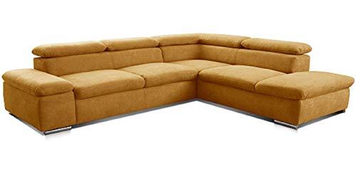 Cavadore Ecksofa Alkatraz / L-Form Sofa groß mit Ottomanen rechts und verstellbaren Kopfteilen / Modernes Design und hochwertiger Webstoff-Bezug / Maße: 272 x 73 x 226 / Farbe: Gelb (Paris mustard)