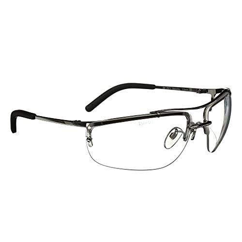 3M Safety Glasses, Metaliks, ANSI Z87, Anti-Fog, Clear Lens, Polished Metal Frame, Adjustable Bridge