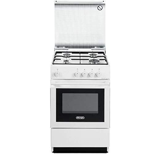 DE LONGHI Cucina a Gas SGW 554 GN N 4 Fuochi Forno a Gas 50 x 50 Colore Bianco