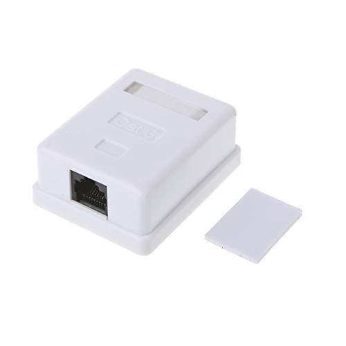 ShineBear Caja de conexiones RJ45 CAT6 Conector de red 2 puertos Caja de cables de extensión de escritorio - (longitud de cable individual)