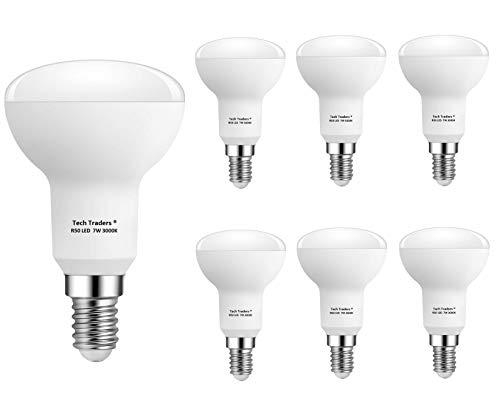 Bombillas LED reflectoras R50 E14, 7 W, luz blanca cálida, de Tech Traders, paquete de 6 unidades