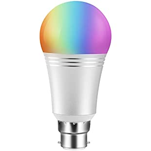 Customer reviews Wifi Smart Bulb Colour Dimmable LED Light B22 Bayonet 60W Equivalent Bulb, Remote Control by Smart Device and Voice Control by Amazon Alexa & Google Home No Hub Required (Cool Daylight White 7W 6000K):Hitspoker