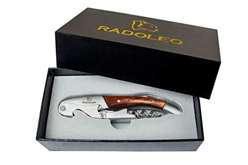 RADOLEO Kellnermesser PADAUK - Premium Korkenzieher | Profi Sommeliermesser...