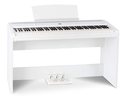 Steinmayer P-60 WM Compact Piano (Stagepiano mit 88 Tasten und passendem Unterbau, Hammermechanik, Anschlagdynamik, 128-fach polyphon, 14 Sounds, inkl. Notenhalter und Netzteil) weiß