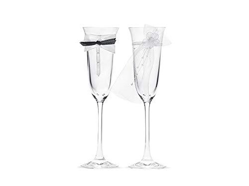 Partydeco Lot de flûtes à Champagne pour mariés Transparent/Blanc et Noir