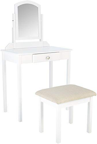 AmazonBasics Classic Compact Vanity Table Set with Stool and Mirror - White