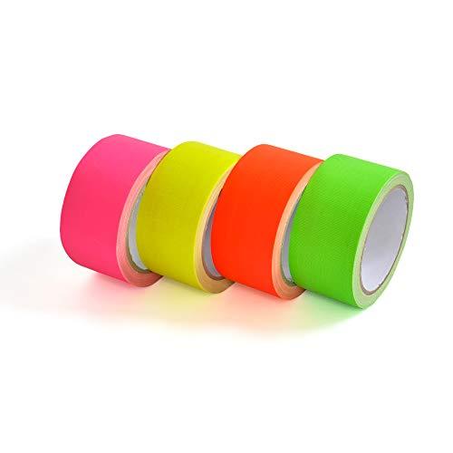 Eventlights 4X Neon Klebeband - 50mm x 10m - Neontape - Gaffa - Gewebeband - Panzertape - Duct Tape - Schwarzlicht - UV aktiv, fluoreszierend