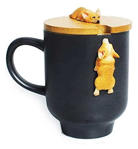 Mug 3D Corgi French Bulldog mug Cute Dog Cat Claw Coffee Tea Mug Cherry Double-Layer Ceramic Juice Cup Milk Mug Water Cup (Color : Black)