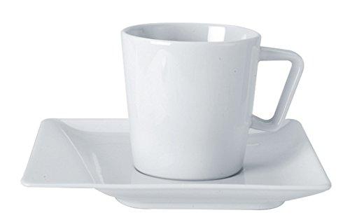 TheKitchenette Lot DE 6 Tasses Mixte 20CL + 6 SOUCOUPES Porcelaine Blanche Cube