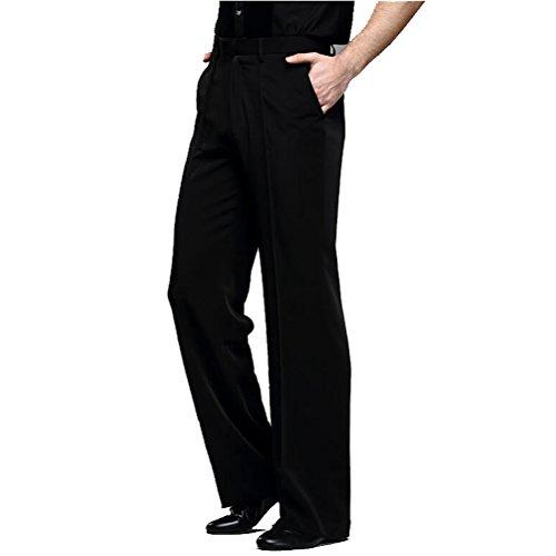 YILINFEIER Men Professional Pure Black Straight Pocket and Belt Latin Modern Square Practice Dance Pants (Size 36, Black)