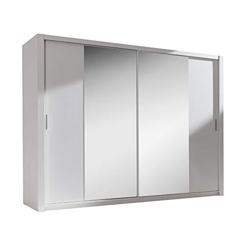 Selsey Ordu - Kleiderschrank / Schwebetürenschrank in Matt mit Spiegel (Weiß 200 cm)