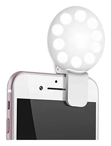 Anillo de luz para selfies, maquillaje y más, pequeño, regulable, luz fuerte y brillante, fijación con clip en el teléfono móvil o espejo, anillo de luz para teléfono móvil, LED