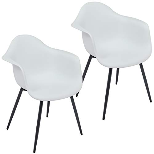 2er Set Esszimmerstuhl Kunststoff Küchenstuhl Design Retro Gestell aus Metall Farbauswahl Duhome 530D, Farbe:Weiss, Material:Kunststoff