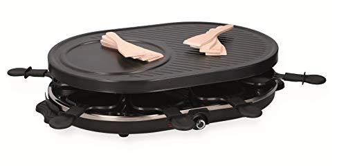 XL Raclette Grill Elektro Grillplatte mit Crepes-Platte 8 Personen Käse-Grill
