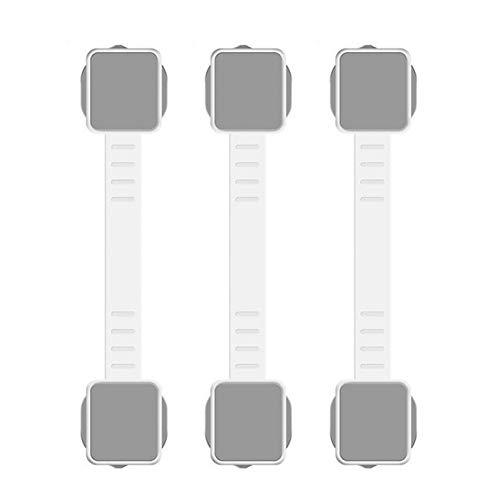 LYTEDB 3Pcs Baby Child Safety Lock Portes et fenêtres de sécurité, armoires Congélateur, Tiroirs Serrures-Blanc/Gris