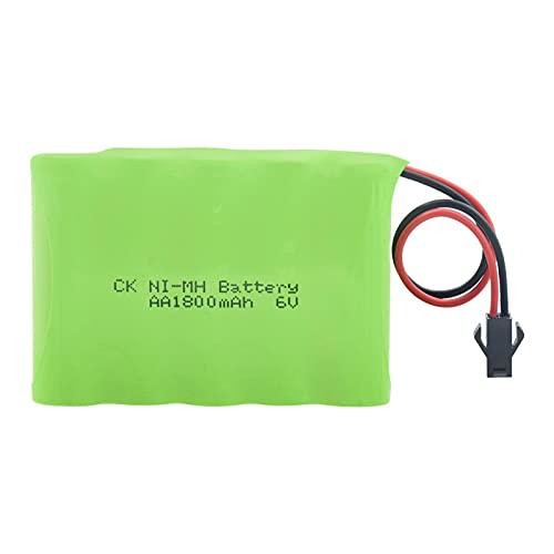 RitzyRose Batería 6 V 1800 mAh AA Ni-MH, paquete de celdas recargables con conector SM/L6.2 para mando a distancia para coche, modelo de paquetes de pilas SMPlug