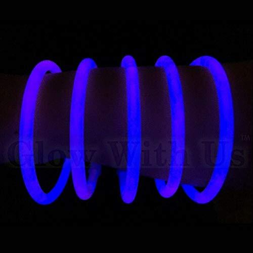 "Glow Sticks Bulk Wholesale Bracelets, 100 8"" Blue Glow Stick Glow Bracelets, Bright Color, Glow 8-12 Hrs, 100 Connectors Included, Glow Party Favors Supplies, Sturdy Packaging, GlowWithUs Brand…"