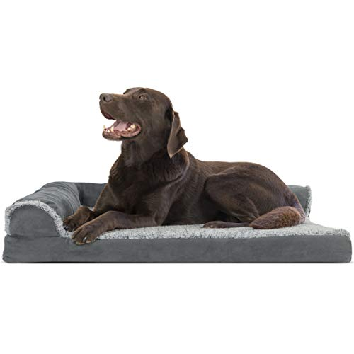 Furhaven Pet Dog Bed - Deluxe Orthopedic Two-Tone Plush Faux Fur & Suede L Shaped Chaise Lounge Living Room Corner Couch Pet Bed w/ Removable Cover for Dogs & Cats, Stone Gray, Large