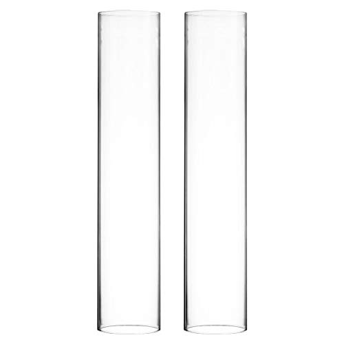 CYS EXCEL 2 PCS (H:16' D:3') Glass Hurricane Candleholder Tube Shade | Multiple Size Choices Open Flame Candle Chimney Tube Cover | Open Ended Cylinder