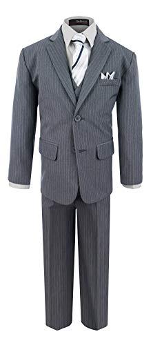 Boy's Formal Pinstripe Dresswear Suit Set #G220 (18, Gray)