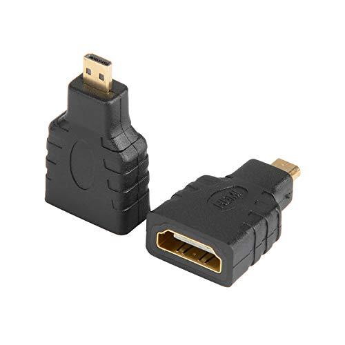 J&D Pack de 2 Micro HDMI a HDMI Adaptador, Chapado en Oro HDMI Hembra a Micro HDMI Macho Convertidor de Adaptador Compatible con Smartphone Cámara