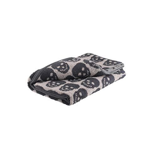 axentia Handtuch Totenkopf aus 100 % Baumwolle, kleines Duschtuch, Badetuch, hautsympathisch und saugfähig, Handtuch 50 x 100 cm, anthrazit/beige