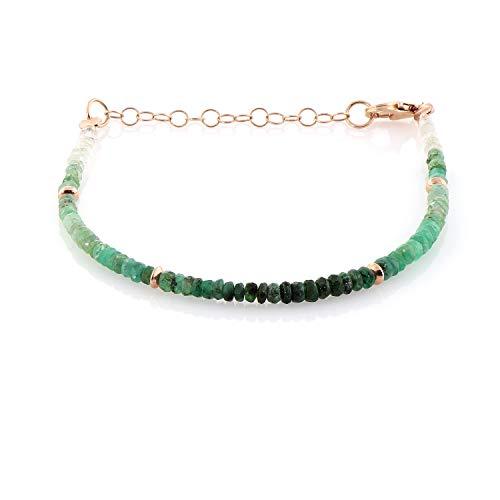 Pulsera de esmeralda verde con cadena de plata de ley y cierre de 3,5 mm, piedra natal de mayo, regalo para mamá o regalo de Navidad para ella