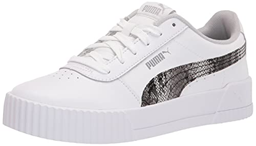 PUMA Women's Carina Sneaker, White-Gray Violet Silver, 6