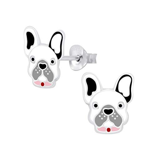French Bulldog Earrings - Grey White and Pink Collar Sterling Silver Gift