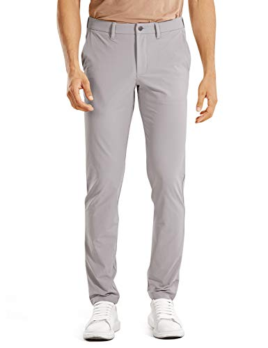 CRZ YOGA Men's Skinny Travel Pants Stretch Solid Dry Feeling Thick Golf Work Long Pant with Pockets - 34 inches Gull Gray 34