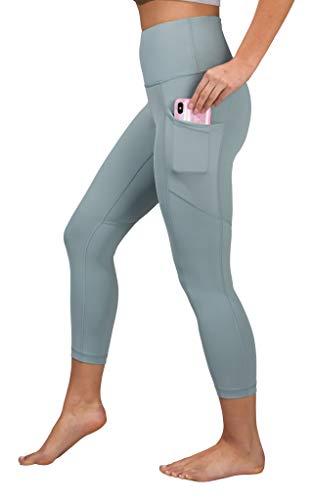 90 Degree By Reflex High Waist Squat Proof Yoga Capri Leggings with Side Phone Pockets - Slate - Medium