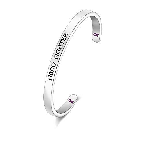 CHOORO Fibromyalgia Purple Ribbon Bracelet Fibromyalgia Awareness Gift Fibromyalgia Jewelry Fibro Fighter Cuff Bracelet