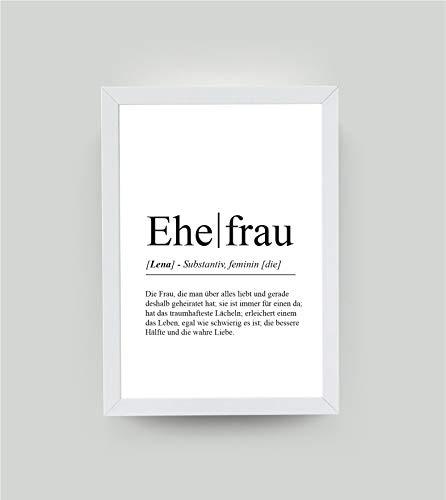 """Personalisiertes Definitionsposter""""EHEFRAU"""" zum Geburtstag, Bedanken, beste Frau, Hochzeitsgeschenk, Geschenk vom Ehemann, Partnergeschenk"""