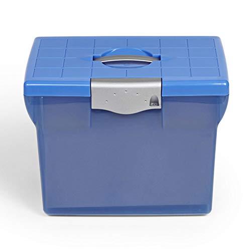 1PLUS Premium Ablagebox Hängemappenbox Aktenbox Archivbox (aus Kunststoff, A4) (blau)