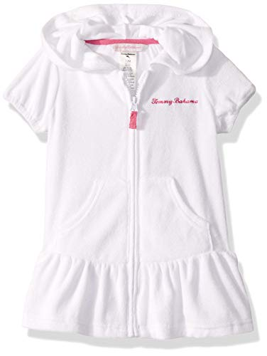 Tommy Bahama Girls' Baby Terry Cloth Swimsuit Coverup, White, 12 Months