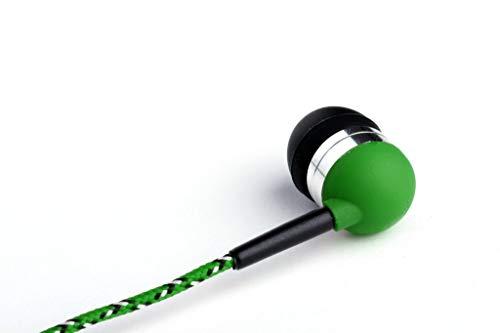 Green Tweedz Braided Headphones - Green, Yellow, and Black Nylon Fabric Wrapped Earbuds
