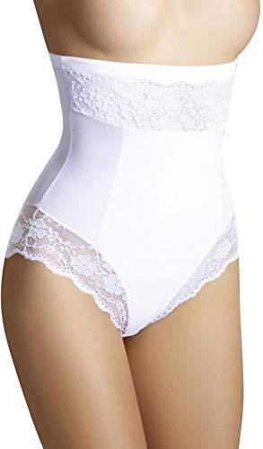 Bauchweg Unterwäsche Damen Miederslip mit Bauch-Weg-Effekt Shapewear Stark Formend Miederhose Slip Hochzeitsdessous (L, Weiß)