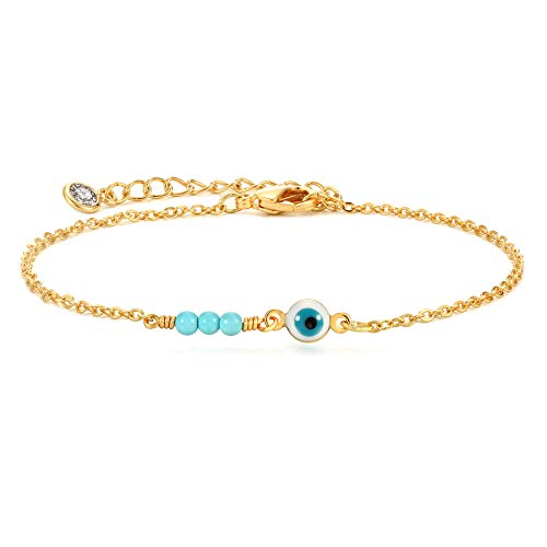 Dremmy Studios Dainty Gold Chain Anklet 14k Gold Filled Simple Cute Turquoise Evil Eye Anklet Boho Beach Charm Chain Anklet for Women Minimalist Personalized Gift for Her