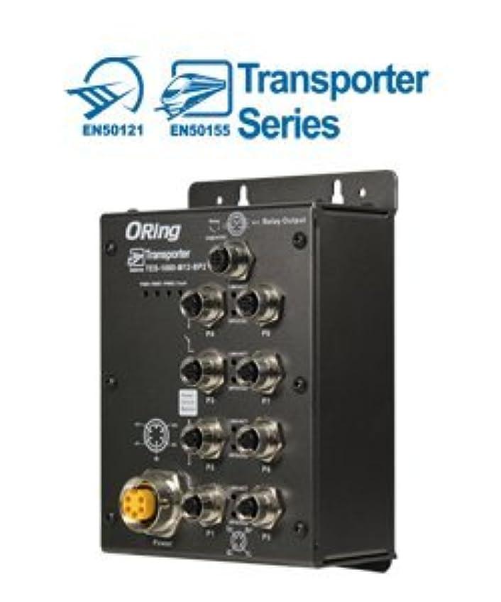 グラス小切手暗黙ORing 産業用EN50155準拠M12コネクタ搭載8ポートイーサネットスイッチ(バイパス機能×2セット)(10/100Base-T(X)M12コネクタ×8ポート(D-coding)搭載) TES-1080-M12-BP2