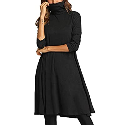 Muranba Womens Dresses Solid Loose Dress Ladies Turtleneck Neck Casual Long Tops Dress