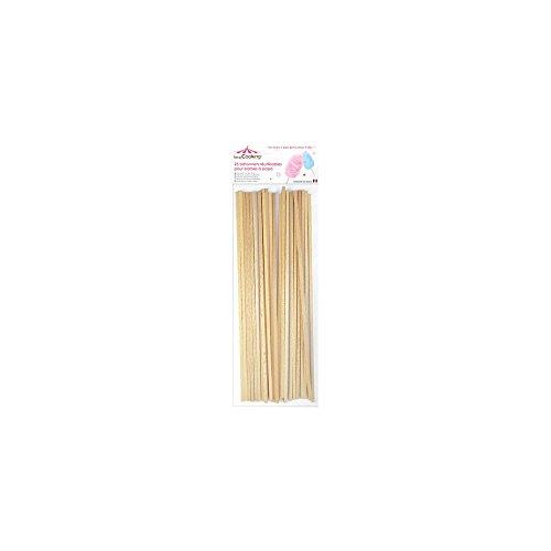 SCRAP COOKING 5187 25 Bâtonnets pour Barbes à Papa, Bois de hêtre apte au Contact Alimentaire, Beige, 34 x 11 x 1 cm