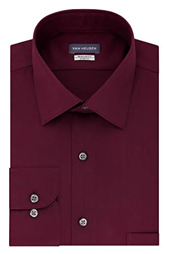 Van Heusen mens Regular Fit Lux Sateen Stretch Solid Dress Shirt, Oxblood, 17.5 Neck 34 -35 Sleeve X-Large US