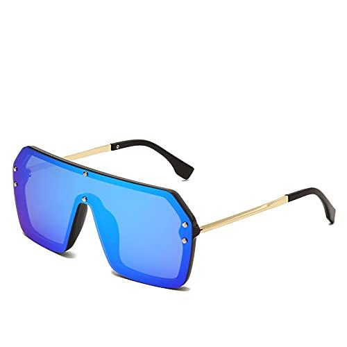 JINZUN Gafas de Sol de Moda Montura Cuadrada Gafas de Sol de Tendencia Montura Grande Sombrilla a Prueba de Viento Espejo Gafas Anti-UV Montura Negra Película Azul