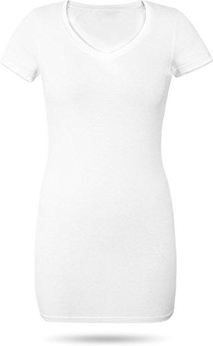 normani Figurbetontes Longshirt mit V-Ausschnitt - von XS bis 3XL Farbe Weiß Größe M