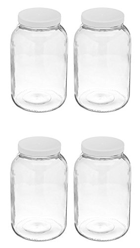 4 Pack ~ Wide Mouth 1 Gallon Clear Glass Jar - White Lid with Liner Seal for Fermenting Kombucha/Storing and Canning/USDA Approved, Dishwasher Safe