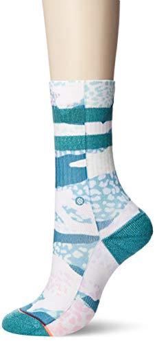 STANCE Women's Frankly Crew Socks, Teal, Green, Print, Medium