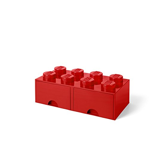 LEGO Brick with 2 Drawers With 8 Knobs, in Red