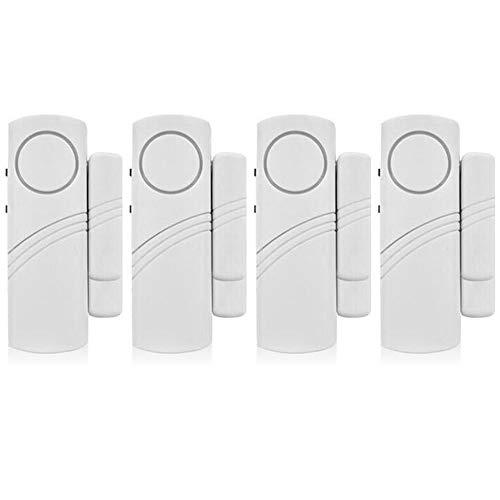 Alarma de puerta de ventana Mopoin, 4 juegos de 4 sensores magnéticos inalámbricos para puertas y ventanas, alarma antirrobo, sistema de alarmame detector de alarma fuerte 90 dB, para la seguridad de los niños