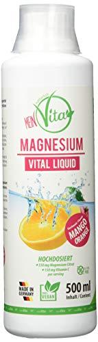 MeinVita Magnesium Vital Liquid, Vitamin C, 350 mg Magnesium hochdosiert, Mango Orange, 500 ml