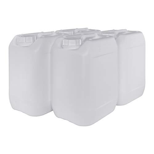 Garrafa Bidón Blanco Plástico 10 litros apilable. Apta para uso alimentario. Homologación para transporte. (4 Unidades).